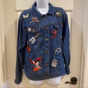 Johnny Was Bling Embellished Denim Jacket